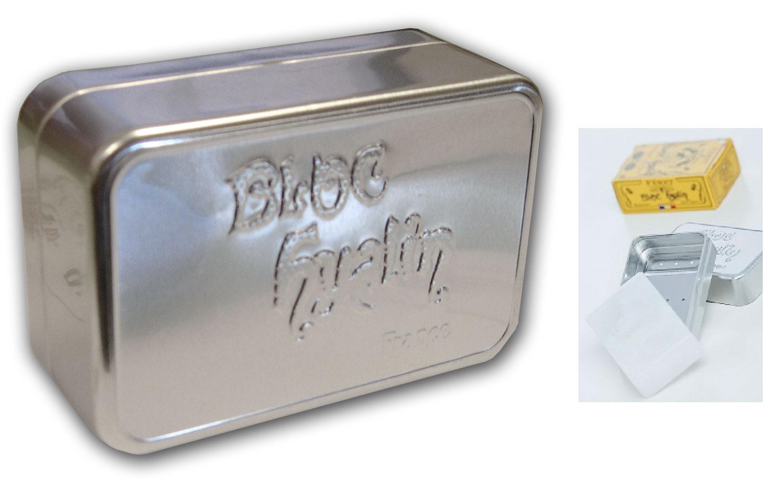 F ret parfumeur bo te metal pour bloc hyalin boutique bio for Boite a savon gifi