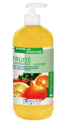 Gel Moussant Fruité Mandarine  & Orange Cosmo Naturel 500 ml