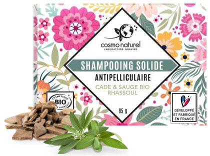 Shampoing solide antipelliculaire Cade Sauge Rhassoul 85g