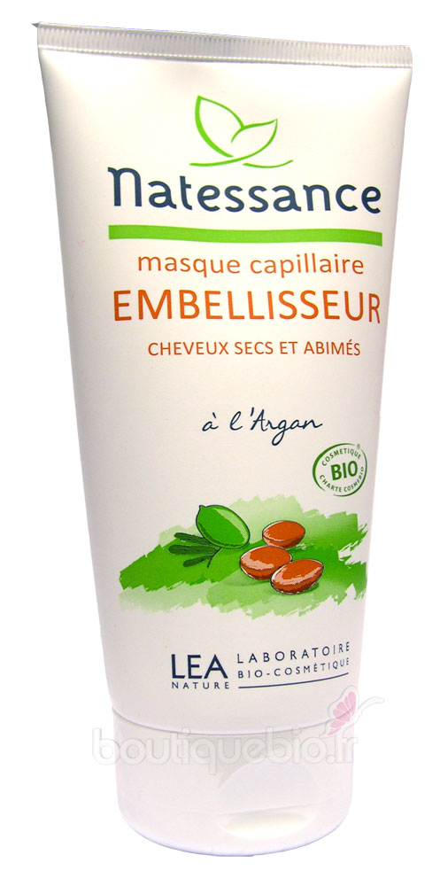 natessance masque capillaire embellisseur l 39 argan cheveux secs et ab m s 150 ml boutique bio. Black Bedroom Furniture Sets. Home Design Ideas