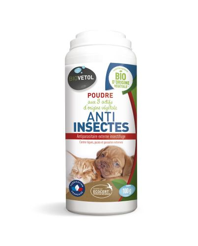 Poudre antiparasitaire Anti Insect Chien et chat 100 g