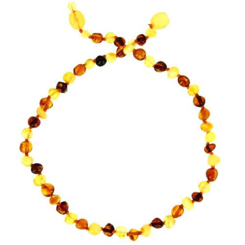 Collier ambre 3 coloris - bille - clip